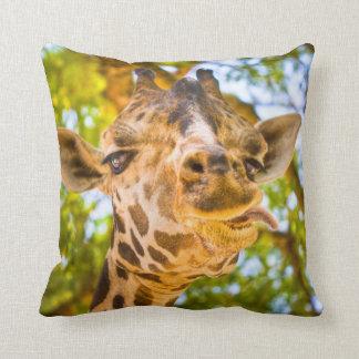 Funny Giraffe Face Throw Pillow