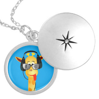 funny giraffe headphones summer comic glasses personalized necklace