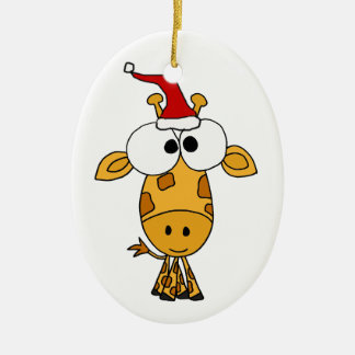 Funny Giraffe in Santa Hat Christmas Art Christmas Ornament