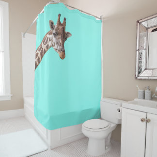 Funny Giraffe is Watching You on Mint Green Shower Curtain