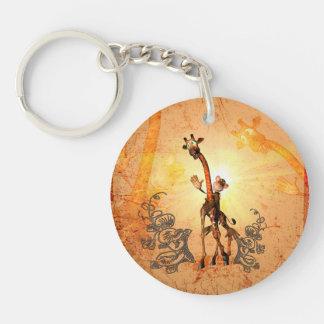 Funny giraffe Single-Sided round acrylic key ring