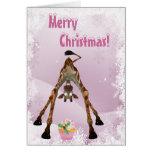 Funny Giraffe & Pink Cupcake Christmas Card