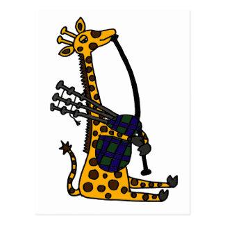 Funny Giraffe Playing Bagpipes Art Postcard