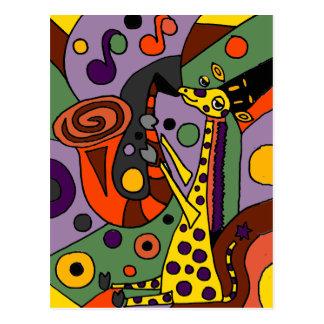 Funny Giraffe Playing Saxophone Original Art Postcard