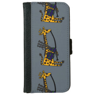 Funny Giraffe Playing the Bagpipes iPhone 6 Wallet Case