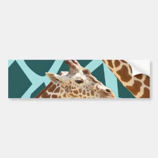 Funny Giraffe Print Teal Blue Wild Animal Patterns Bumper Sticker
