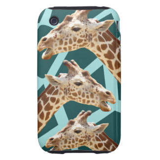 Funny Giraffe Print Teal Blue Wild Animal Patterns iPhone 3 Tough Case