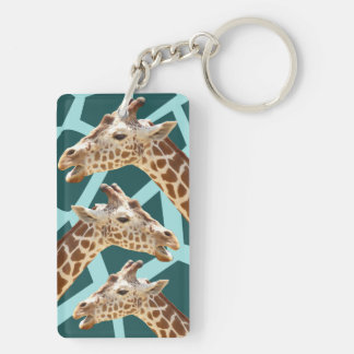 Funny Giraffe Print Teal Blue Wild Animal Patterns Double-Sided Rectangular Acrylic Key Ring