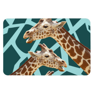 Funny Giraffe Print Teal Blue Wild Animal Patterns Vinyl Magnet