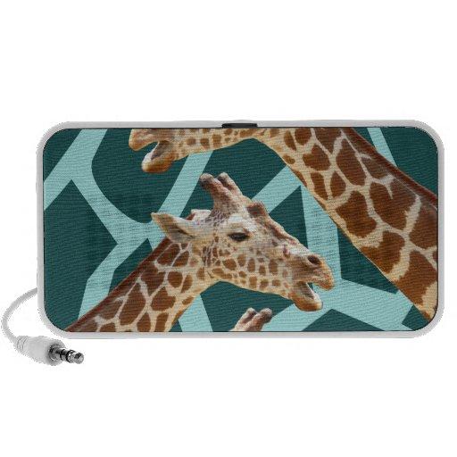 Funny Giraffe Print Teal Blue Wild Animal Patterns PC Speakers