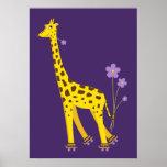 Funny Giraffe Roller Skating Kids Print