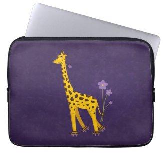 Funny Giraffe Roller Skating Purple 13in Laptop Sleeve