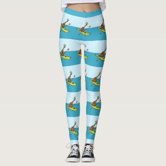 Funny giraffe sea kayaking leggings