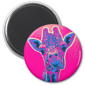 Funny Giraffe Sticking out his Tongue 6 Cm Round Magnet