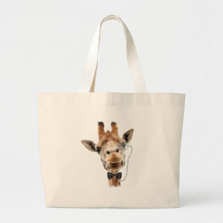 Funny Giraffe with Bowtie and Monocle Tote Bags