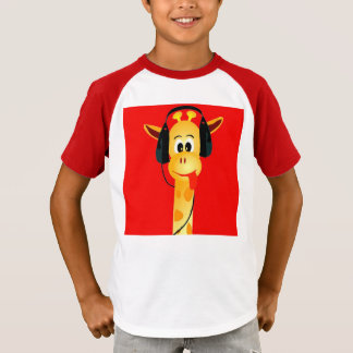 Funny giraffe with headphone colorful bright comic T-Shirt