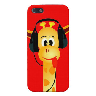 Funny giraffe with headphone colorful comic style case for iPhone 5/5S