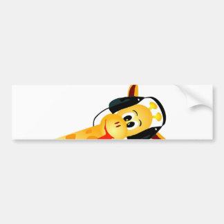 funny giraffe with headphones bumper sticker
