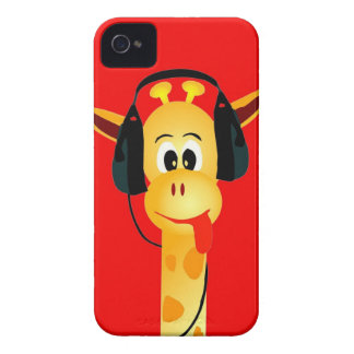 funny giraffe with headphones comic style Case-Mate iPhone 4 case