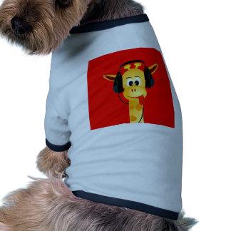 funny giraffe with headphones comic style dog tee shirt