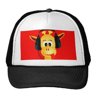 funny giraffe with headphones comic style trucker hat