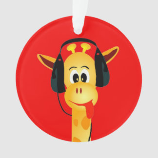 funny giraffe with headphones comic style ornament