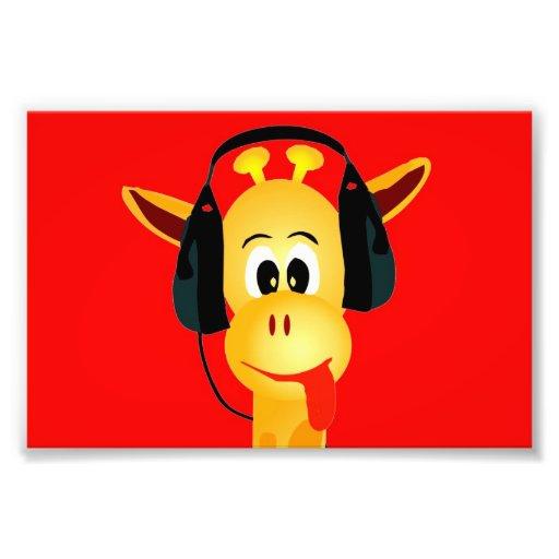 funny giraffe with headphones comic style photographic print