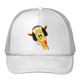 funny giraffe with headphones mesh hats