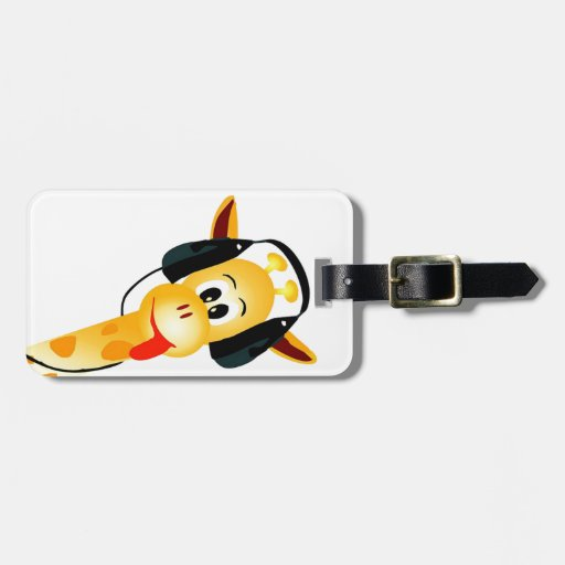 funny giraffe with headphones travel bag tags