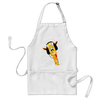 funny giraffe with headphones standard apron