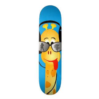funny giraffe with headphones summer glasses comic 21.3 cm mini skateboard deck