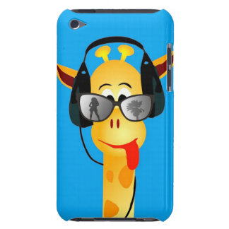 funny giraffe with headphones summer glasses comic iPod touch case