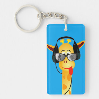 funny giraffe with headphones summer glasses comic key ring