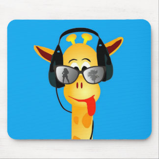 funny giraffe with headphones summer glasses mouse mat