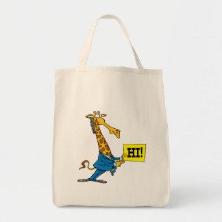funny giraffe with hello hi sign cartoon grocery tote bag