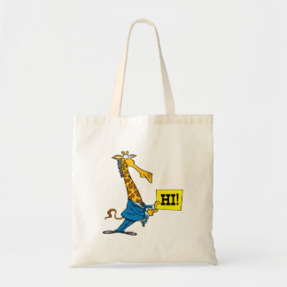 funny giraffe with hello hi sign cartoon budget tote bag