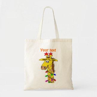 Funny Giraffe With Lights Whimsical Christmas Budget Tote Bag