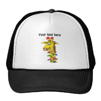 Funny Giraffe With Lights Whimsical Christmas Cap
