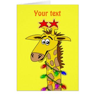Funny Giraffe With Lights Whimsical Christmas Card