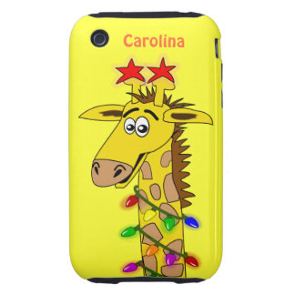 Funny Giraffe With Lights Whimsical Christmas iPhone 3 Tough Cases