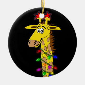 Funny Giraffe With Lights Whimsical Christmas Christmas Ornament