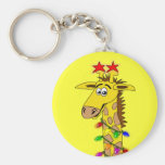 Funny Giraffe With Lights Whimsical Christmas Keychains