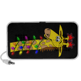 Funny Giraffe With Lights Whimsical Christmas Mp3 Speakers