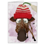 Funny Giraffe with Winter Hat Christmas Card