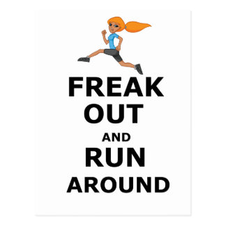 Funny girl Freak Out And Run Around Postcard