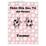 Funny Girl to Girl Cartoon Cow Animal Thank You Greeting Card