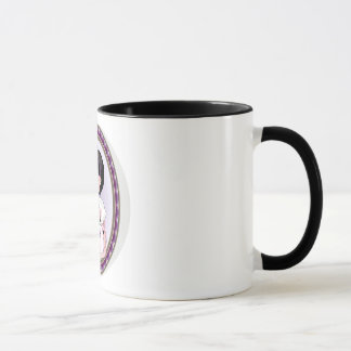 Funny girl with white rat mug