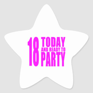 Funny Girls Birthdays 18 Today and Ready to Party Star Stickers