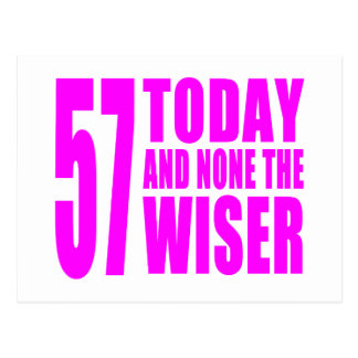 Funny Girls Birthdays  57 Today and None the Wiser Postcard