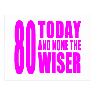 Funny Girls Birthdays  80 Today and None the Wiser Postcard